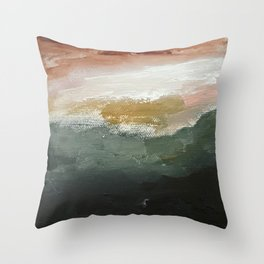 Pink Sky Hazy Morning Abstract Landscape Throw Pillow