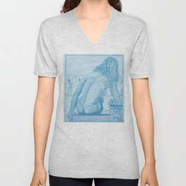"Egon Schiele ""Seated Nude, Seen from the Behind"" Unisex V-Neck"