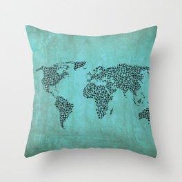 Teal Star World Map Throw Pillow