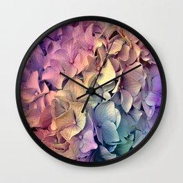 Soft Multi Color Hydrangea Wall Clock