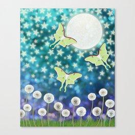 the moon, stars, luna moths, & dandelions Canvas Print