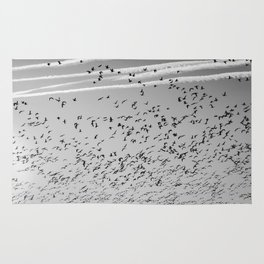 The Birds (Black and White) Rug