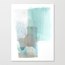 Glacial - Turqoise Blue and Brown Abstract Watercolor Painting Canvas Print