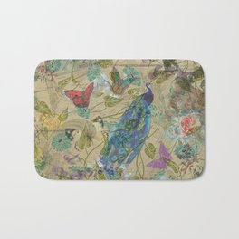 Vintage Ivory Green Blue Pink Peacock Collage Bath Mat