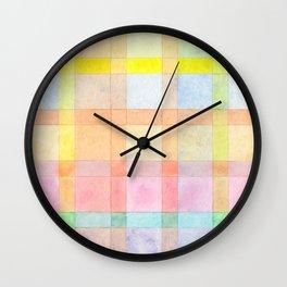 Pastel colored Watercolors Check Pattern Wall Clock