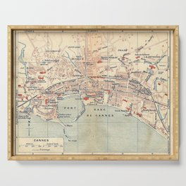 Vintage Map of Cannes France (1921) Serving Tray