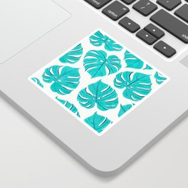 Monstera leaf pattern in turquoise blue Sticker