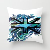 union jack Throw Pillows featuring Union Jack by Boz Designs