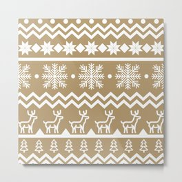 Classic Christmas sweater pattern with deers, pine trees and snowflakes in yellow and white Metal Print