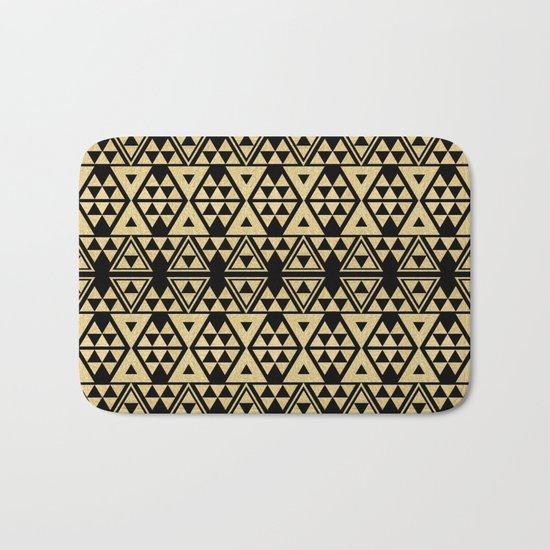 Black and Gold Geometric Pattern 2 Bath Mat