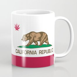 California Republic state flag with red Cannabis leaf Coffee Mug