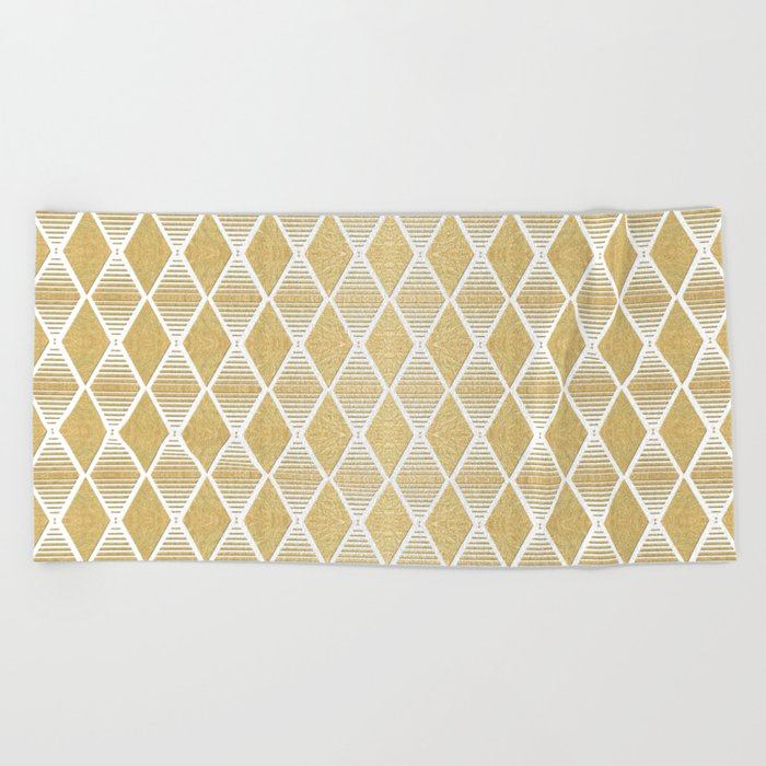 White and Gold Geometric Pattern Beach Towel
