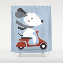 Kawaii Cute Dog Riding A Scooter Shower Curtain