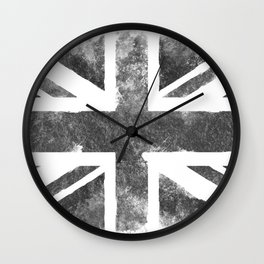 Grey UK Flag Wall Clock
