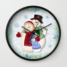 Snowman and Family Glittered Wall Clock
