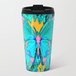 Blue Satin Pink Butterfly Black Designs Travel Mug