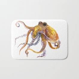 Octopus, orange red gold underwater scene octopus lover design, beach Bath Mat