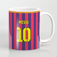messi Mugs featuring Three Tens: Messi 10 by Crewe Illustrations