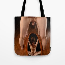 4913-AK Slim Woman Standing Over Oval Mirror with No Clothes On Tote Bag