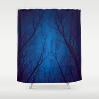 nietzsche Shower Curtains featuring I Have Loved the Stars too Fondly by soaring anchor designs