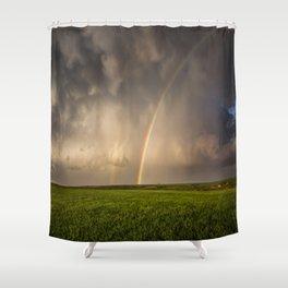 Mega Rainbow - Brilliant Rainbow Against Stormy Sky in Oklahoma Shower Curtain