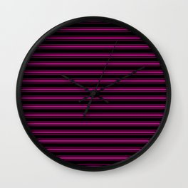 Large Black and Neon Pink Mattress Ticking Bed Stripes Wall Clock