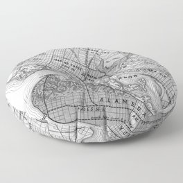 Vintage Map of Oakland California (1878) BW Floor Pillow