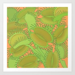 Free Hugs (Venus flytrap - Orange) Art Print