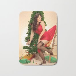 """Tree Trouble"" - The Playful Pinup - Christmas Tree Pin-up Girl by Maxwell H. Johnson Bath Mat"