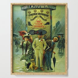 Vintage Russian Galoshes Advertisement Serving Tray