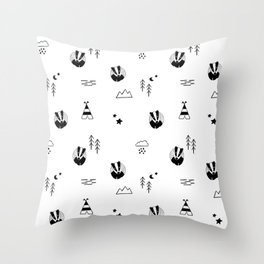 badger, scandinavian forest animals, black & white Throw Pillow