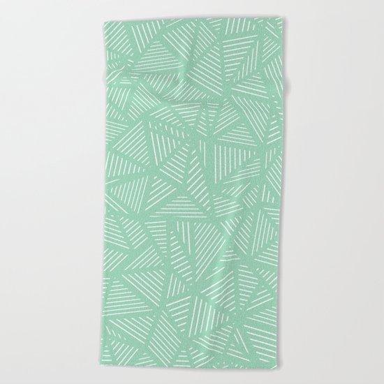 Geo Lines Mint Beach Towel