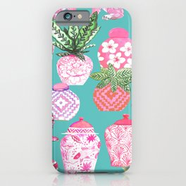 Pink Chinese ginger jars on teal with calathea plants and palms iPhone Case