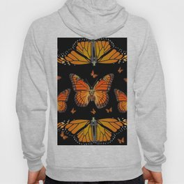 ABSTRACT ORANGE MONARCH BUTTERFLIES BLACK  PATTERNS Hoody