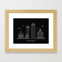 New Orleans Minimal Nightscape / Skyline Drawing Framed Art Print
