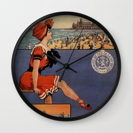 1900 Ostend beach bathing beauty Wall Clock