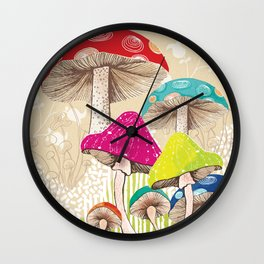 Magical Mushrooms Wall Clock