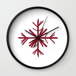 Christmas Winter Snowflake: Dark Red Wall Clock