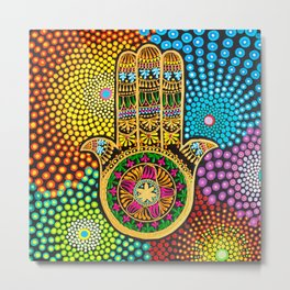 Hamsa Hand, hand of fatima, mandala, yoga art, mandala art, meditation art Metal Print