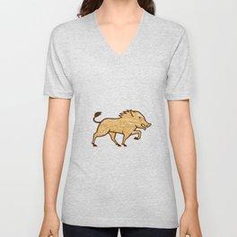 Wood Boar Marching Side Retro Unisex V-Neck