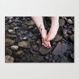 Muddy Feet by River Canvas Print