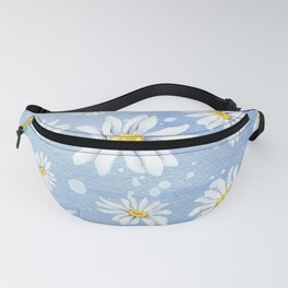 Spring Daisies On Sky Blue Watercolour Fanny Pack