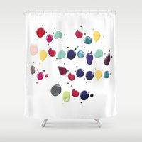 nail polish Shower Curtains featuring Colorful Nail polish by Luxe Glam Decor