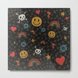 2000's Emo Pattern (GRAY) Metal Print