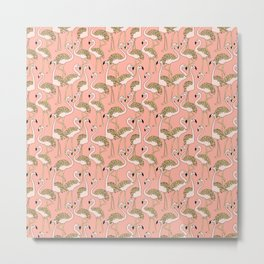 Flamingo Family // Peach Metal Print