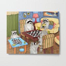 Raccoon 18 playing checkers Metal Print
