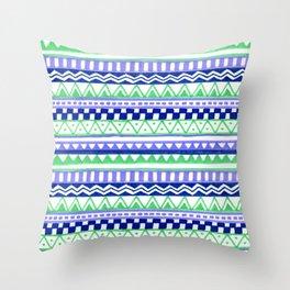 Blue Green Purple Pattern Throw Pillow