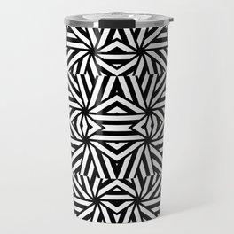 Black and white lines pattern, asymetric design, geometric theme, simple stripes lines, caleidoscope Travel Mug
