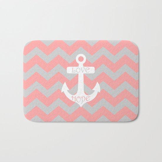 Anchor Chevron Gray Coral Pink Bath Mat