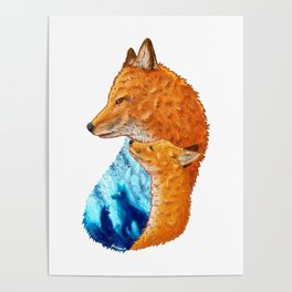 Serene Foxes Poster